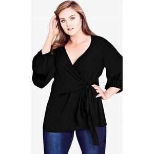 City Chic Plus SZ 14W 1X 0X Blouse Shirt Black